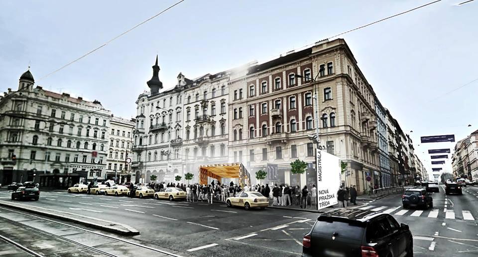 Celá akce byla propagována vizualizací, která slibovala prostor pro spontánní činnost a efektní pódium. Všimněte si, že po pražských ulicích jezdí jen černé offroady a žluté taxíky. A všimněte si pódia, bude o něm řeč.