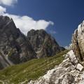 Lienzské Dolomity: vrcholy nad cestou ke Karslbader Hütte