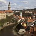 Český Krumlov: pohled z vyhlídky u Barokního divadla